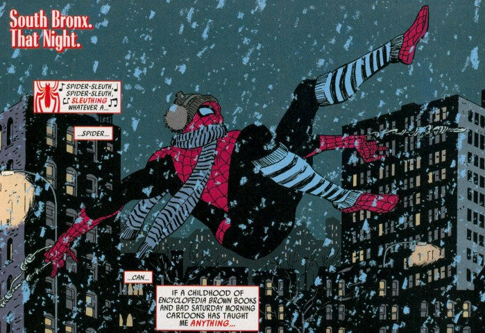 spider-man in winter clothing