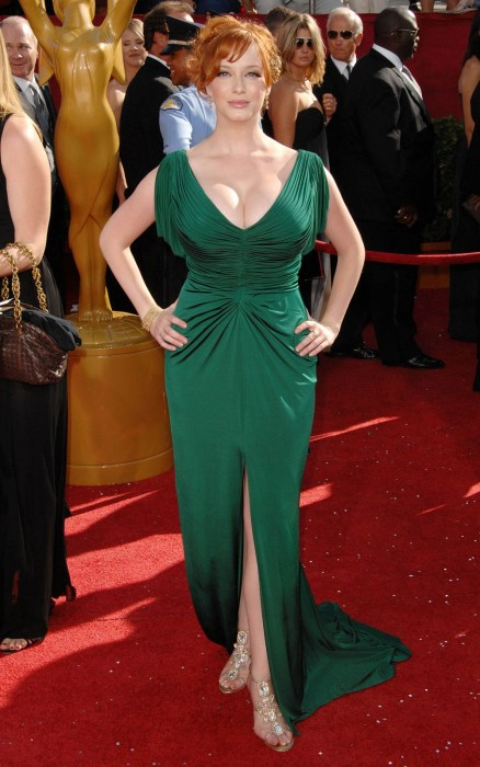 christina hendricks - green dress 1