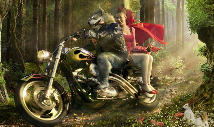 red riding hood on a hog