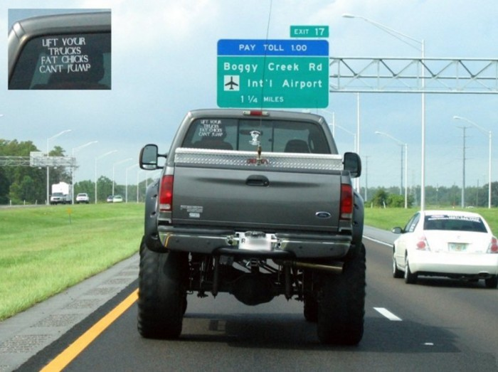 lift your trucks fat chicks can't jump