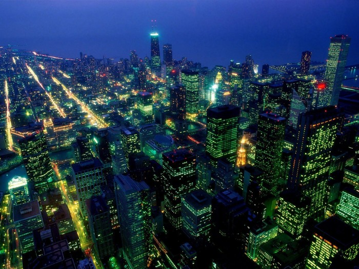 neon city lights