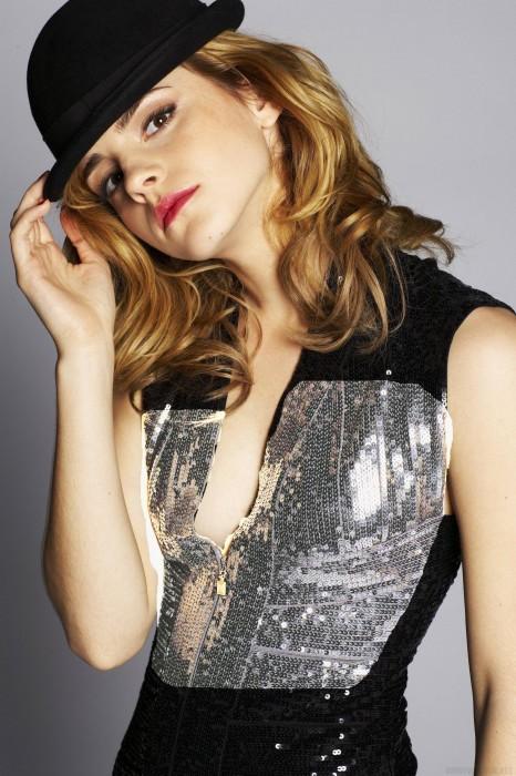 emma watson in a fancy hat