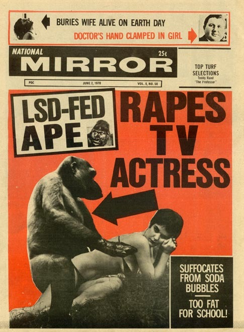 lsd fed ape apres TV actress lsd fed ape rapes TV actress