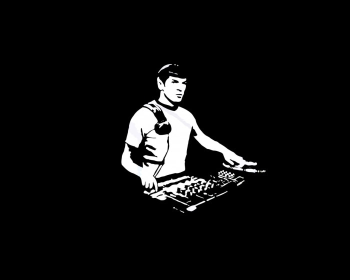 dj spock 700x560 dj spock Wallpaper star trek Music Humor