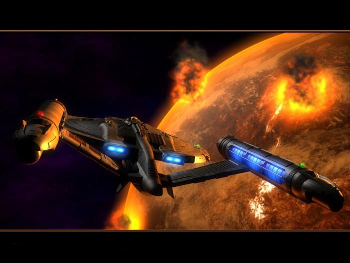 star trek ship around exploding planet