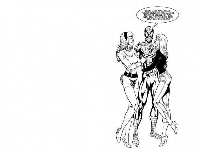 gwen stacey, mary jane and peter parker