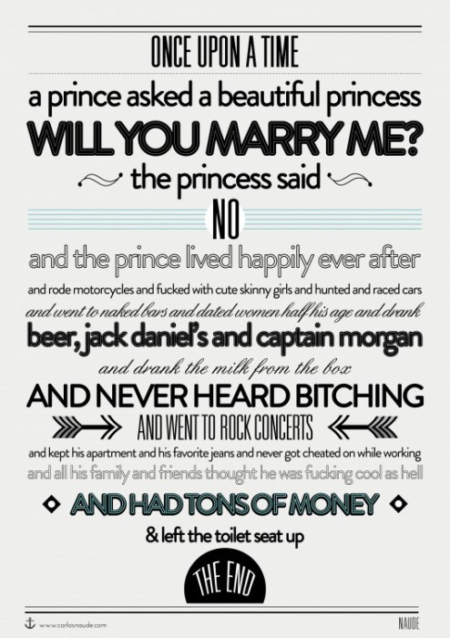 once upon a time - a prince asked a princess will you marry me