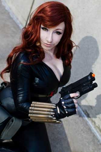 sexy black widow cosplayer