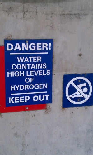 water contains high levels of hydrogen