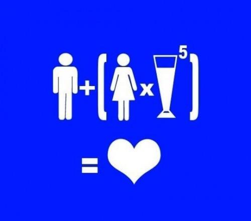 man plus woman and liquor equals love