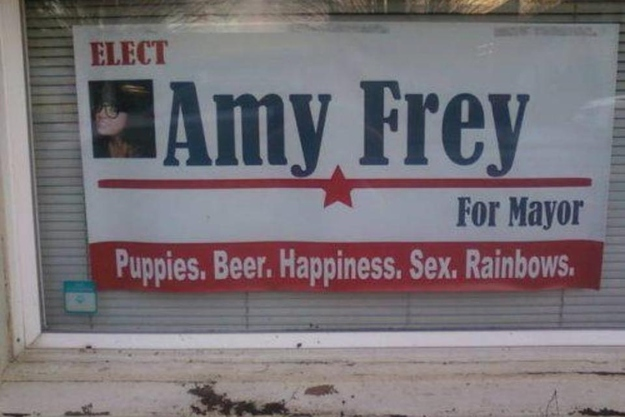 elect amy frey for mayor puppies beer happiness sex rainbows elect amy frey for mayor   puppies, beer, happiness, sex, rainbows