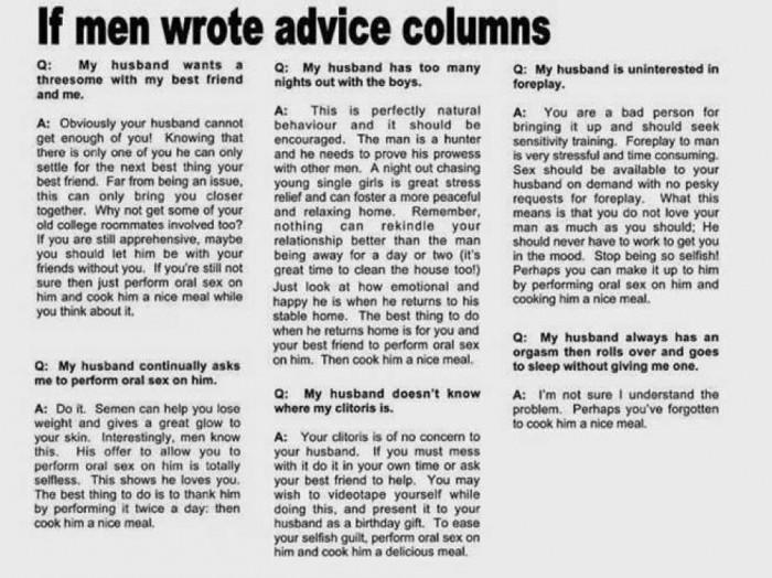 if men wrote advice columns.jpg