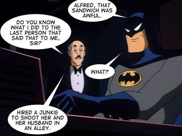 Batman and Alfred discuss sandwiches Batman and Alfred discuss sandwiches Dark Humor Comic Books batman