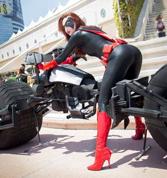 Batwoman on a bike Batwoman on a bike