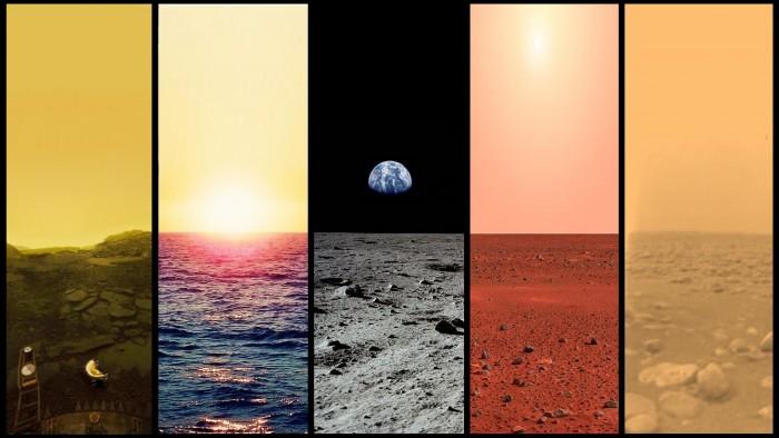Venus, Earth, Moon, Mars, Titan.jpg