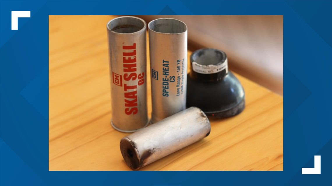 No law enforcement agency admits to using tear gas Monday but tear gas canisters were found at the scene