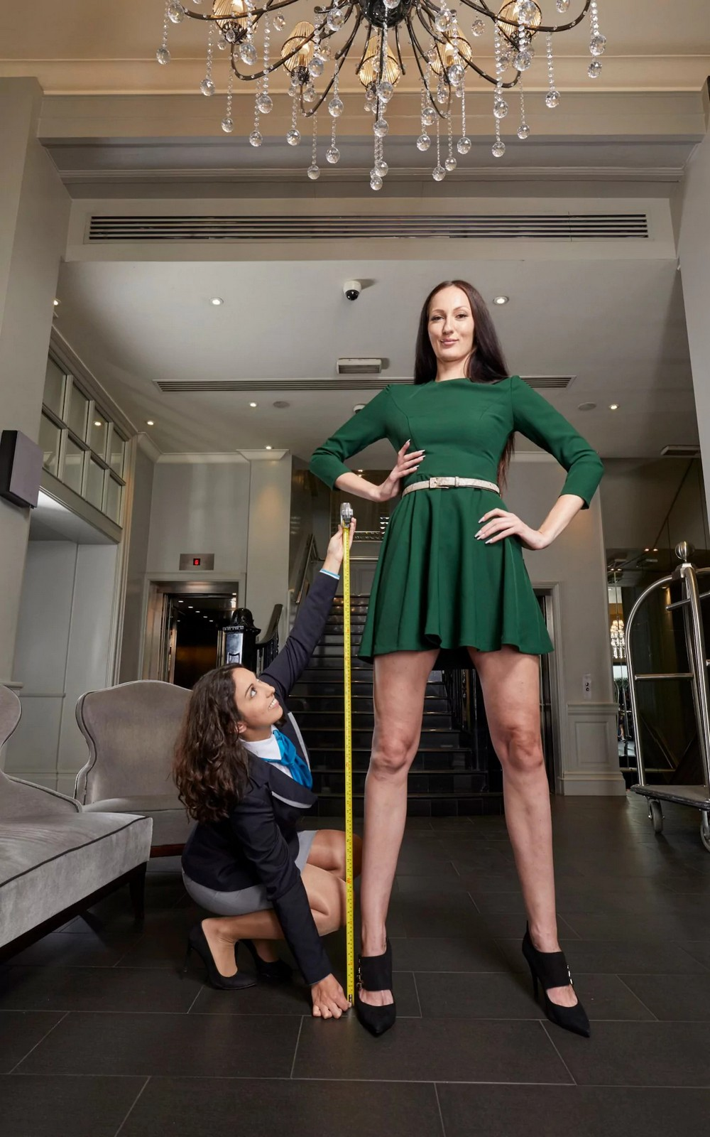 tall lady in green