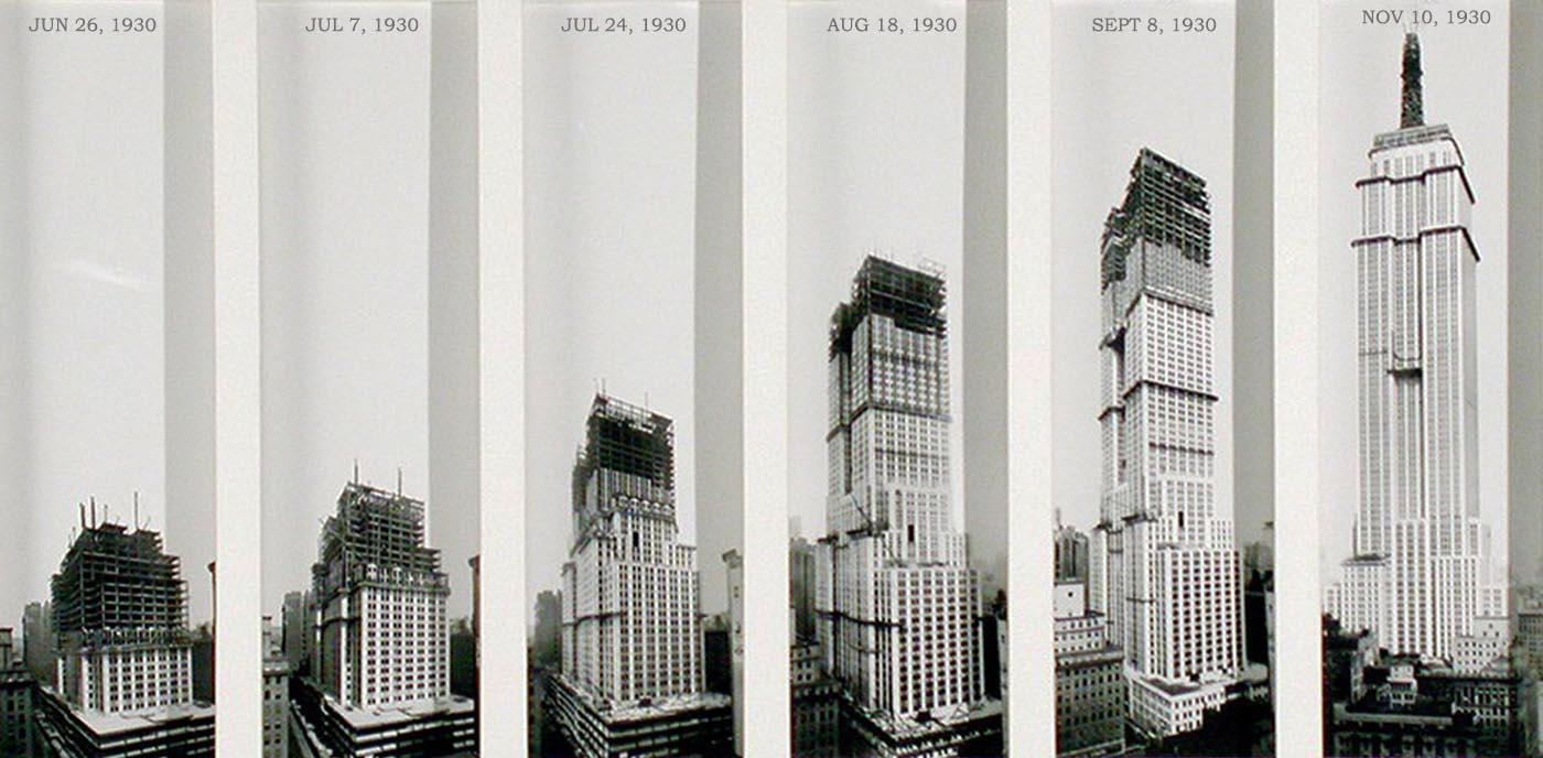 Empire State Building 1930… The entire building went up in just over a year under budget at 40 million and well ahead of schedule 1400×688