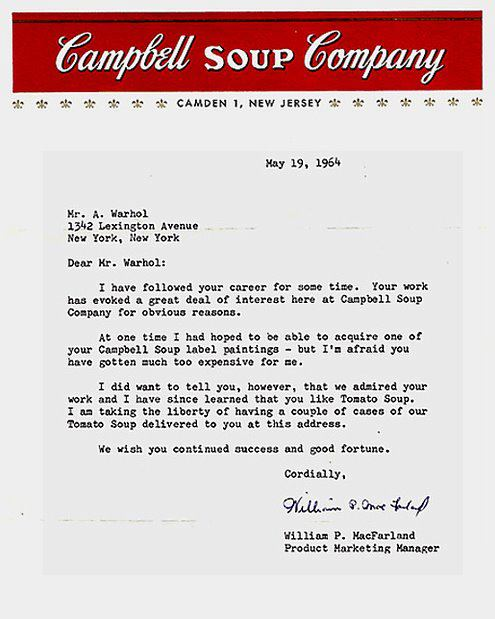 soup Campbells Letter to Warhol