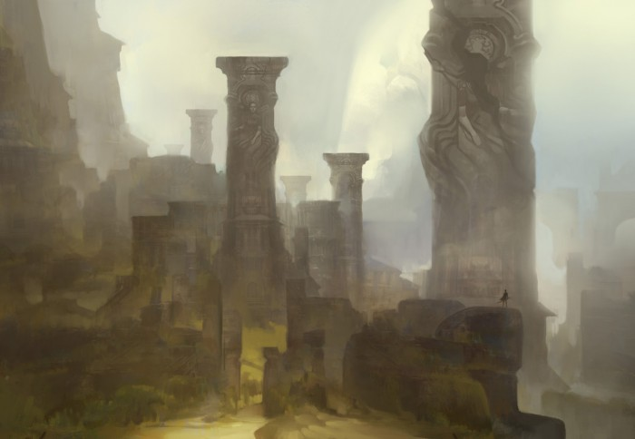 bones of the slumbering city by tomscholes d3k47xz 700x484 Bones of the Slumbering City scifi illustraton fantasy Art