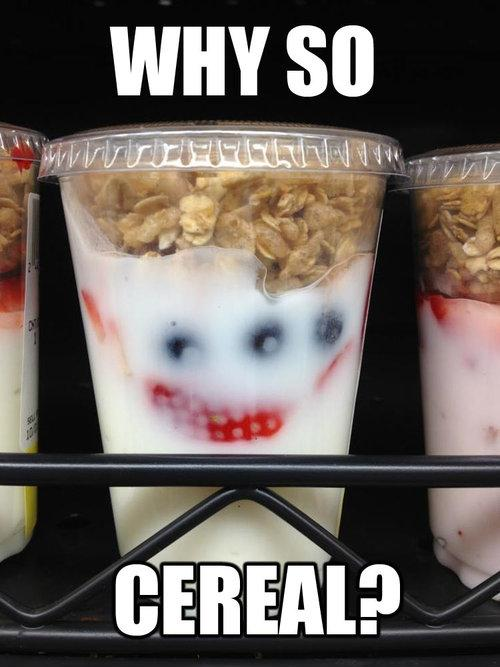 Why so cereal yogurt Meme joker Humor Food dark knight Comic Books batman