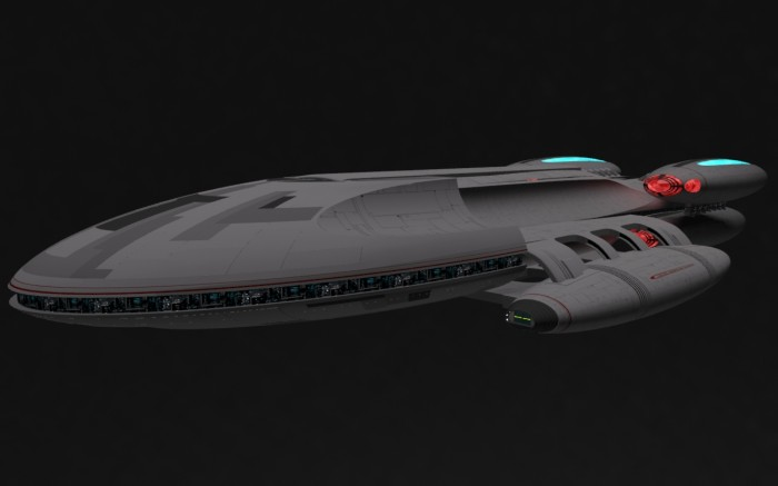 bsg startrek mash 700x437 BSG / Star Trek mashup star trek spaceship scifi render illustration battlestar galactica Art