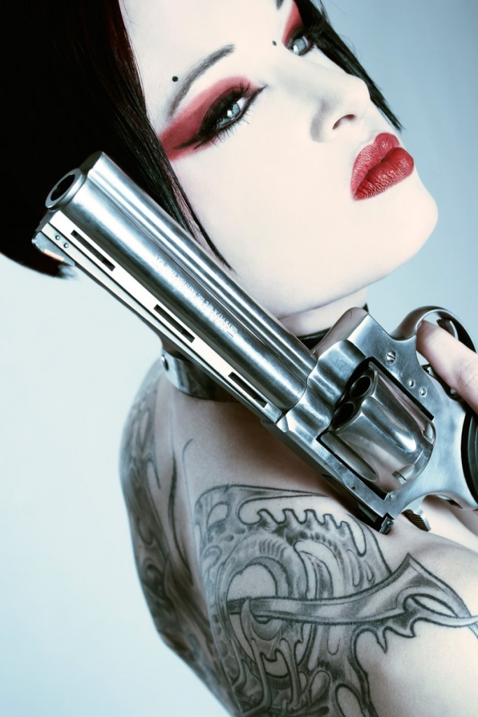 mek001 683x1024 Kiss Kiss Bang Bang women Tattoos guns goth