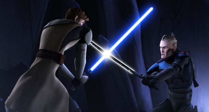 Kenobi vs Vizsla 700x375 Darksaber Weapons Television Technology star wars sith Movies mandalorian lightsaber clone wars