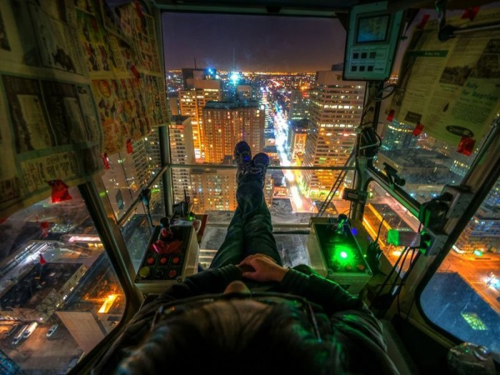THE CRANE OPERATOR'S VIEW Photograph by MildlyReactive on deivantART 700x525 Crane Operators View sky scary as hell lights city