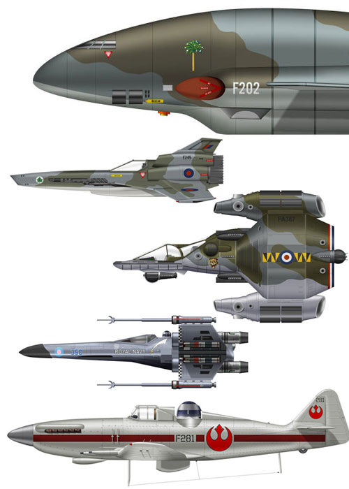 scifi paintjobs Sci fi  paint mash WWII thunderbirds star wars scifi renders Military last starfighter illustration fighters bsg Art