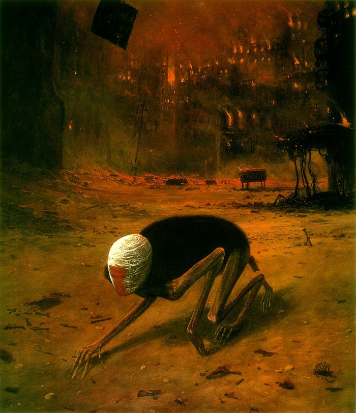 Beksinski pic8 700x811 Zdzislaw Beksinski Painting Paintings Nightmares interesting Art