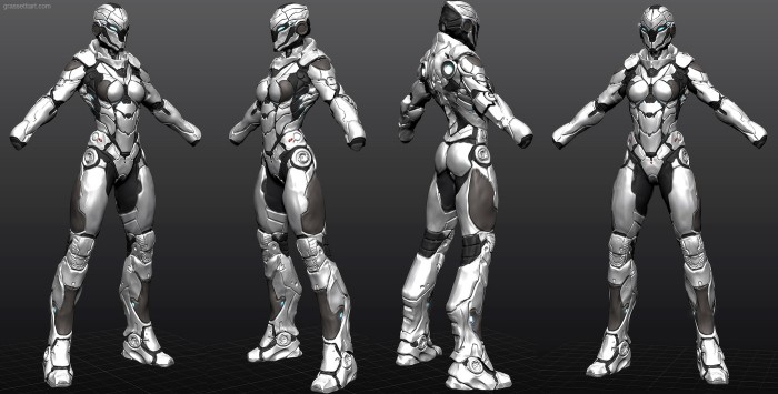 armor sketch01b 700x355 Girl armor women Technology scifi renders illustration Art