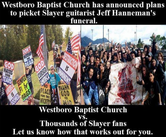 670 Please film this fqTaVP7 Westboro Baptist Church vs. Slayer Religion Music death
