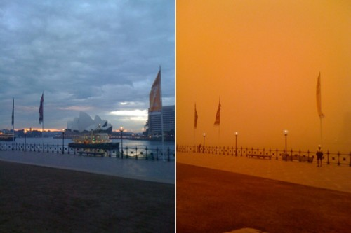 before after sydney harbour 600x400 500x333 Australian Dust Storm