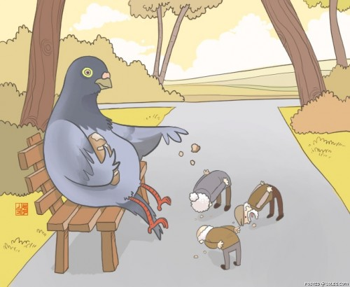 pigeon feeding by nocturnal devil 500x410 In Soviet Russia... xmas X Mas wtf Food