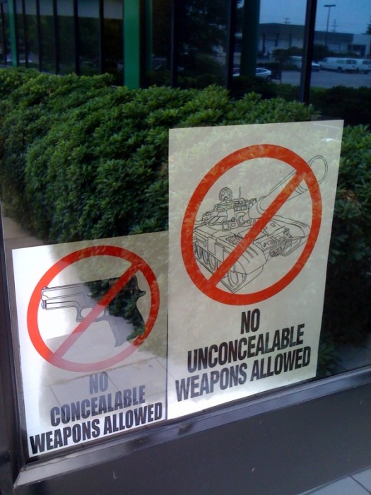 unconcealable weapons 525x700 No unconcealable weapons allowed