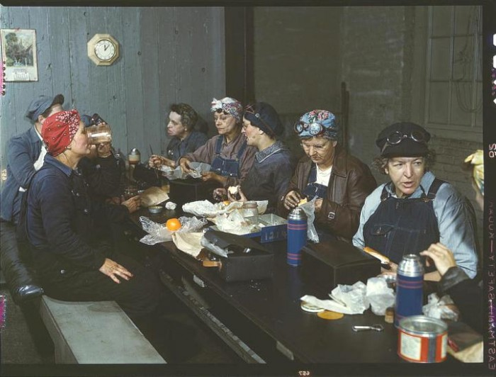 Women workers employed as wipers in the roundhouse having lunch in their rest room, Chicago and Northwest Railway Company. Clinton, Iowa, April 1943. 700x532 America circa 1939 1943