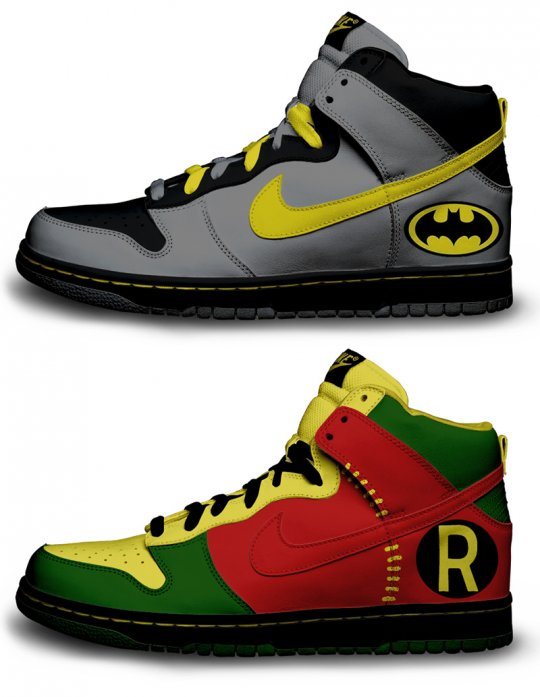 batmanrobinshoes Nike does Batman and Robin