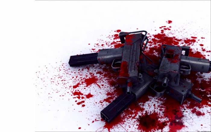 abstract guns wallpaper 700x437 Zombie Wallpapers FTW
