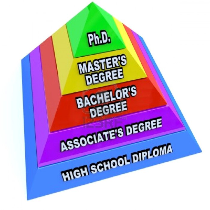 9308428 a pyramid depicting the levels of higher education  starting with high school diploma then associate 700x700 Which one are you on here?