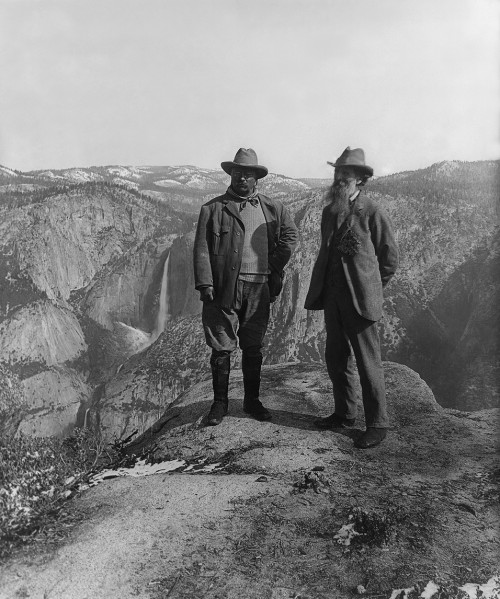 Muir and Roosevelt restored 500x599 Teddy Roosevelt and Mr. Muir Politics Nature