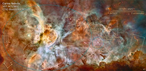 carina nebula annotated 500x242 Carina Nebula Space Science!