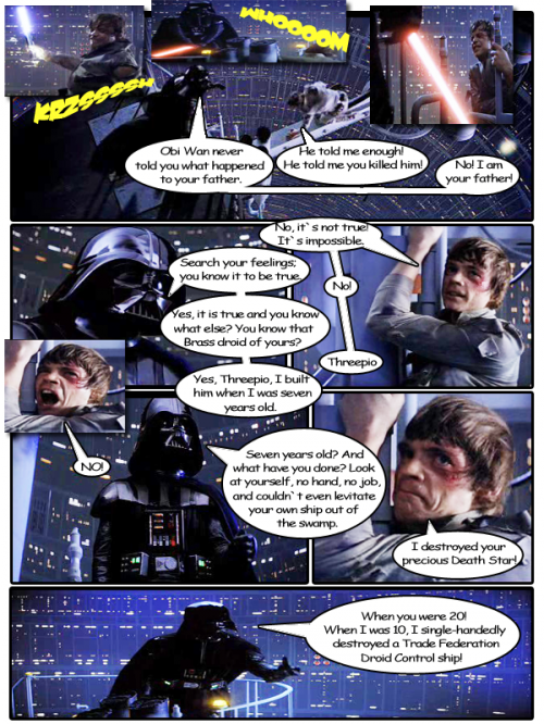 TEsb001 500x666 Darth Vader mocks Luke Television Movies Humor Fantasy   Science Fiction