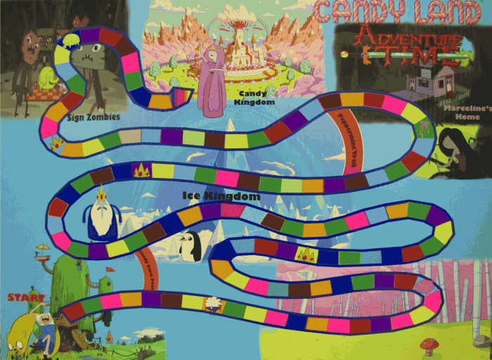 BOARD 700x512 Adventure Time! Candy Land board game that is playable in the forums.