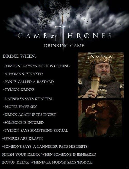 Drinking Game Game of Thrones Drinking Game Television Humor Alcohol