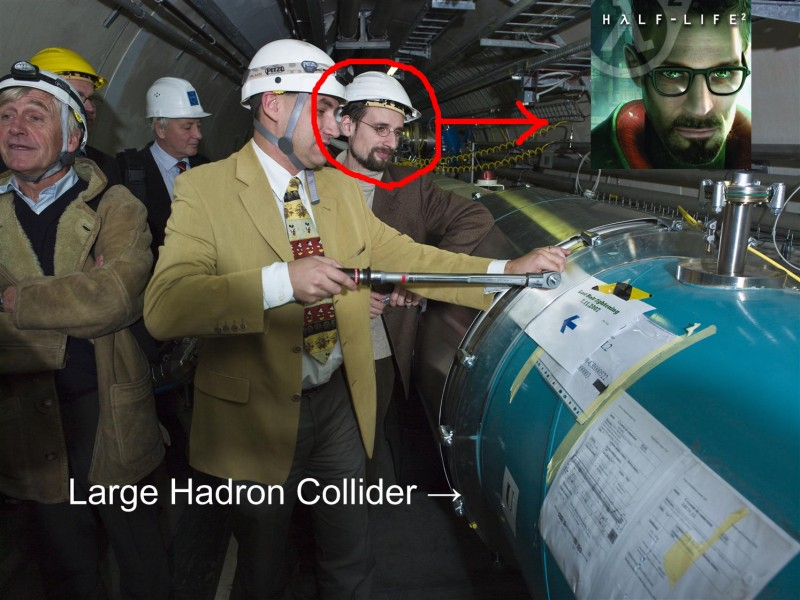 Gordon Freeman spotted at Large Hadron Collider