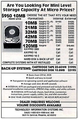 storage prices   1985 Harddrive Ads wtf Computers